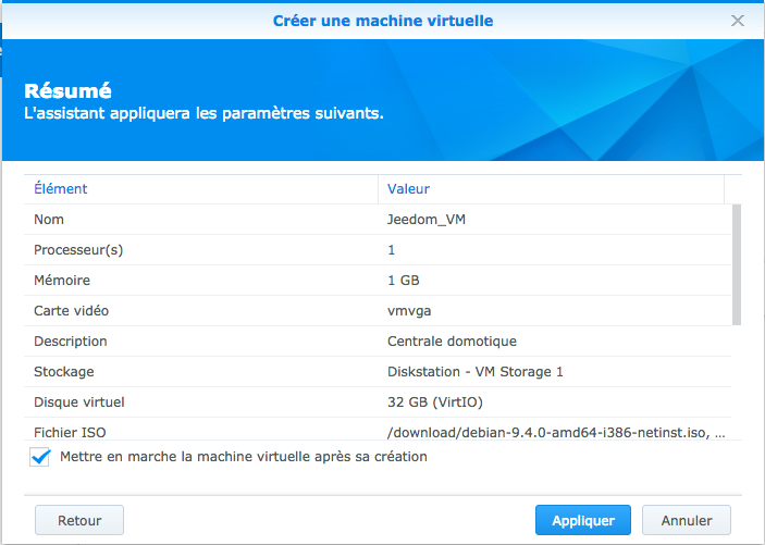 Tuto: installer Jeedom sur NAS Synology avec Virtual Machine