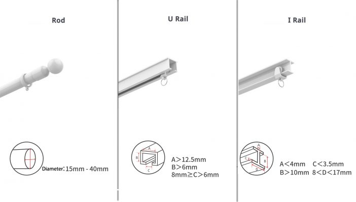 determine the type of curtain rail